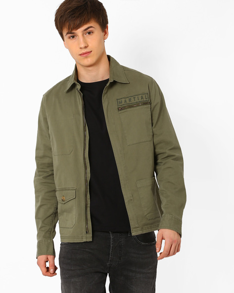 Slim Fit Shacket By ADAMO LONDON ( Olive )