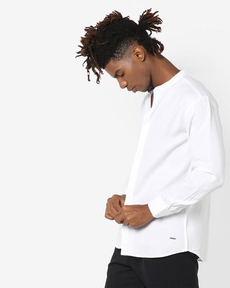 Textured Shirt With Mandarin Collar By AJIO ( White ) - 460097056005