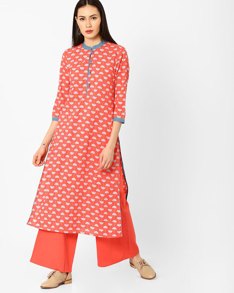 Printed Kurta With Mandarin Collar By AJIO ( Coral )