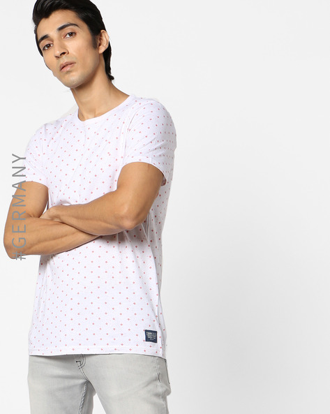 All-Over Print Crew-Neck T-shirt By Tom Tailor ( Red )