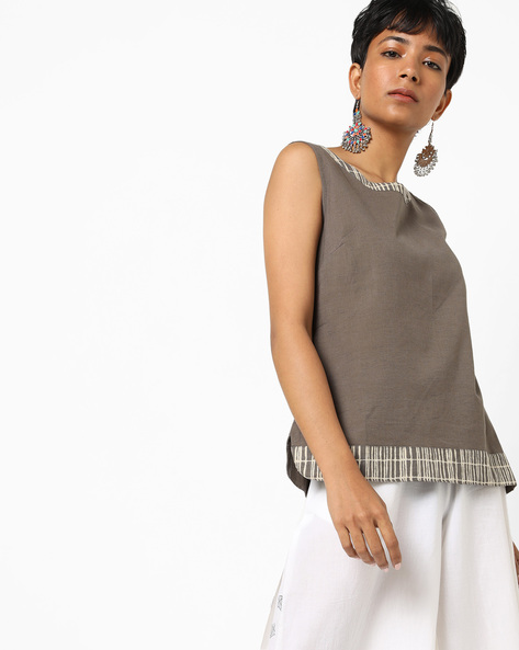 Sleeveless Top With Printed Taping By AJIO ( Grey )