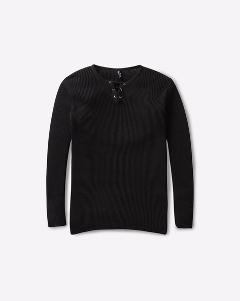 Textured Sweater With Lace-Ups By RIO GIRLS ( Black )
