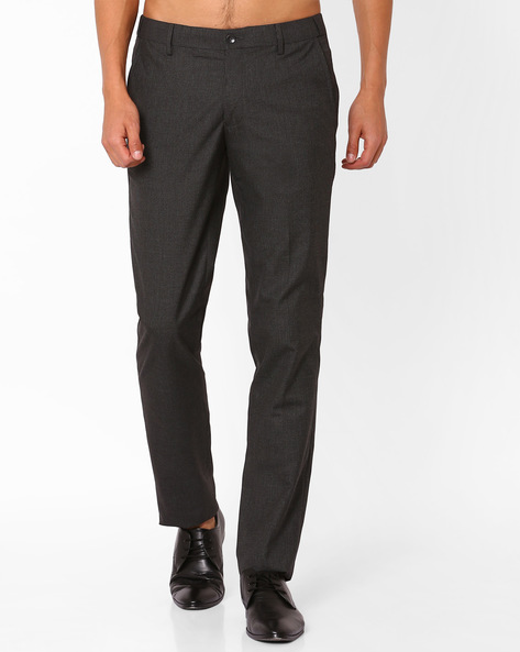 Slim Fit Textured Trousers By NETWORK ( Charcoal )