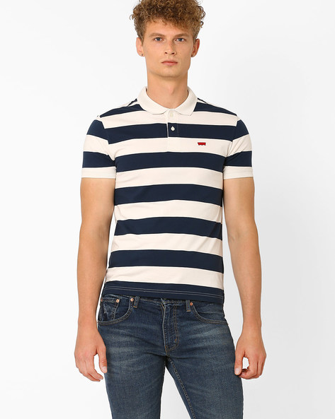 Cotton Polo T-shirt With Stripes By LEVIS ( White )