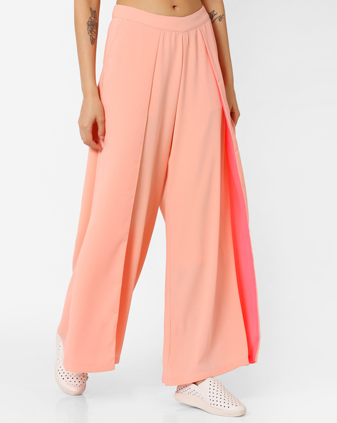 Pleated Palazzo Pants By AJIO ( Peach )
