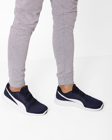 Low-Top Lace-Up Sneakers By Puma ( Navy )