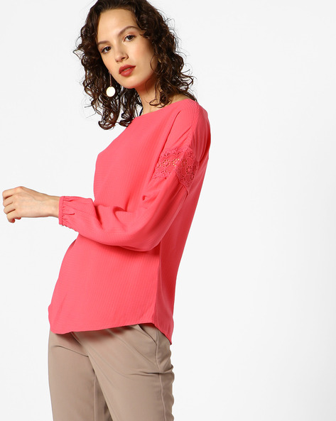 Textured Top With Lace Inserts By AJIO ( Coral )