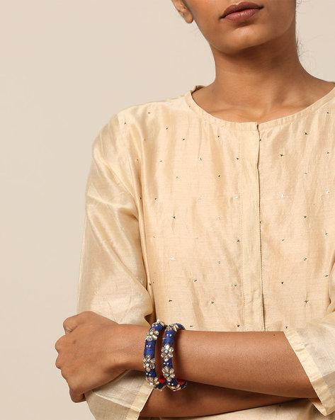 Pure Silk Hand-Embroidered Zardosi Bangles Set By PADMAHASTHA ( Blue )