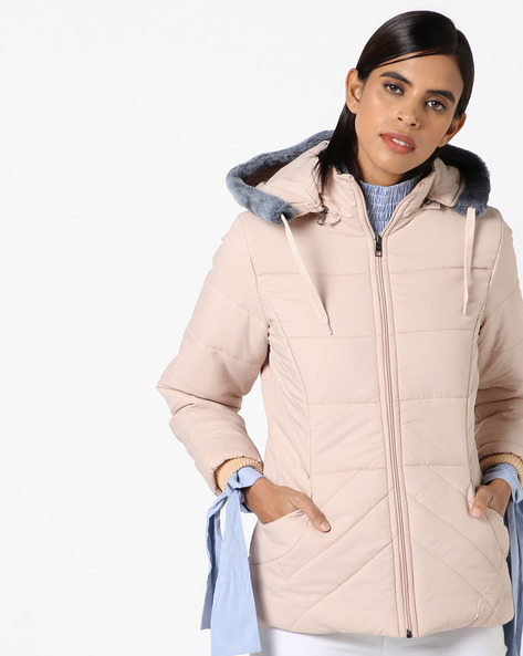 Hooded Quilted Jacket By Fort Collins ( Lightpink )