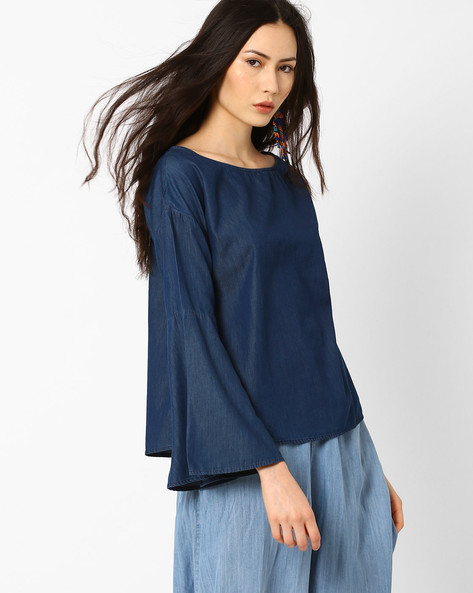 Chambray Top With Curved Hem By AJIO ( Navyblue )