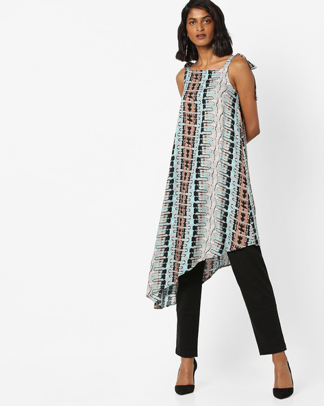 Printed Asymmetrical Dress By AJIO ( Darkblue )