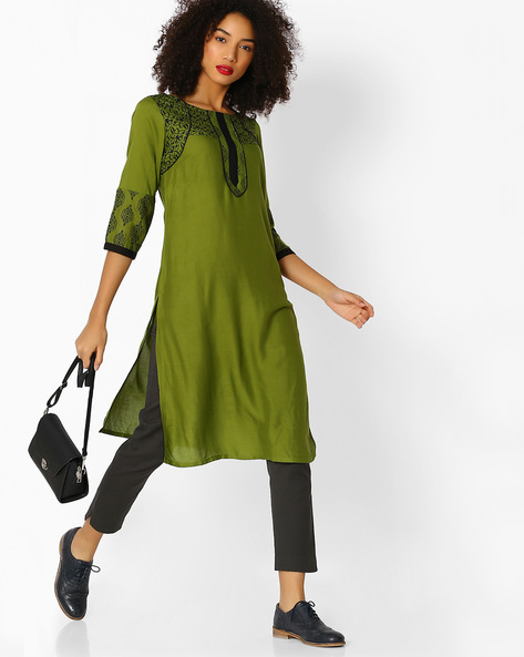 Printed Round-Neck Straight Kurta By Aaboli ( Green )