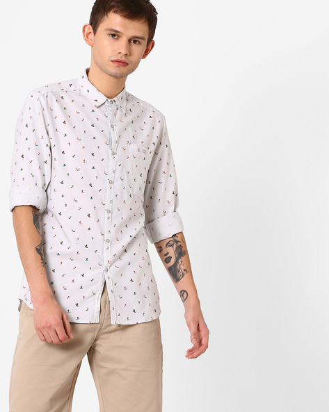Printed Slim Fit Shirt By Lee ( Grey )