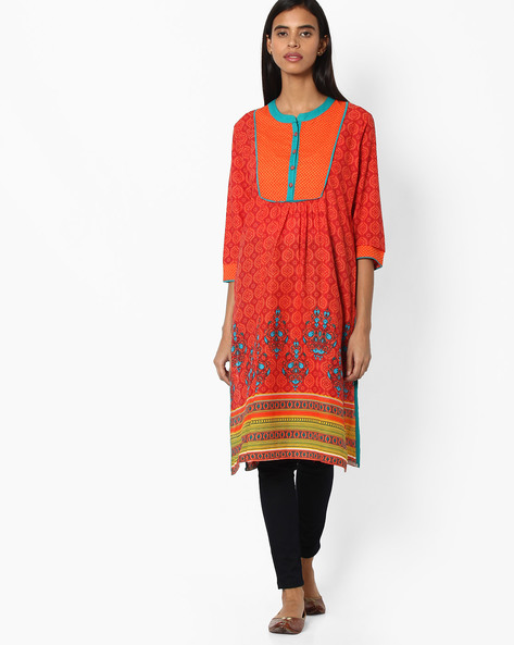 Printed Cotton Straight Kurta By Jiyaa ( Orange )
