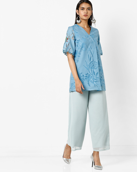 Embroidered Tunic With Pom-Poms By AJIO ( Blue )