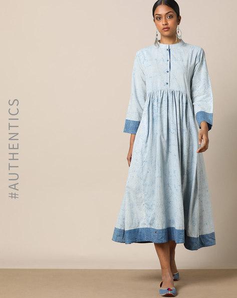 Indigo-Dyed Lep Technique Cotton Dress By Indie Picks ( Indigo )