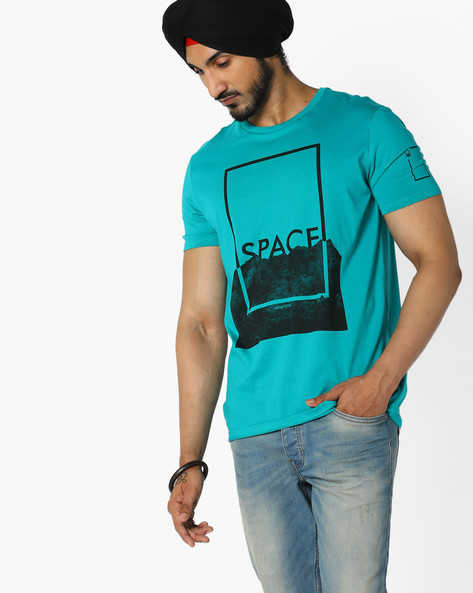 Space Print Cotton T-shirt By UNITED COLORS OF BENETTON ( Blue )