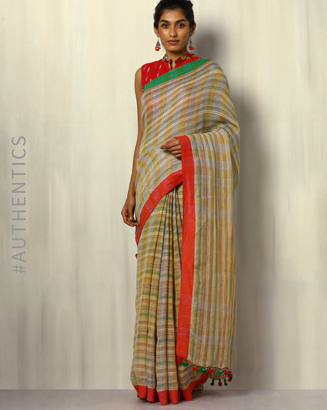 Handloom Bengal Pure Linen Checked Saree With Tassels By Indie Picks ( Multicolour )