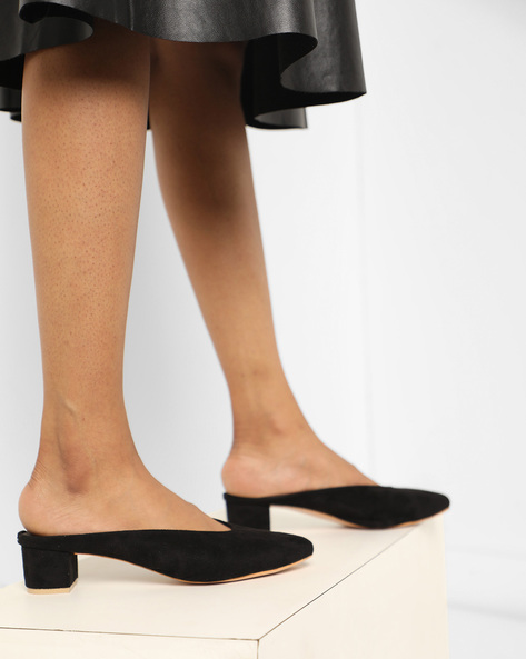 Suede Sandals With Chunky Heels By MFT Couture ( Black )