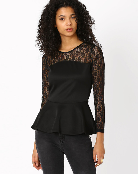 Lace Peplum Top By Candies By Pantaloons ( Black )
