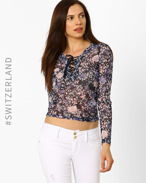 Floral Print Lace-Up Top By TALLY WEiJL ( Multi )