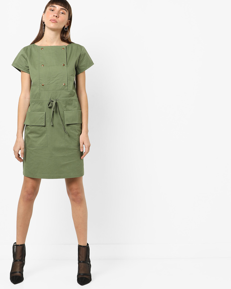 Shift Dress With Tie-Up By AJIO ( Olive )