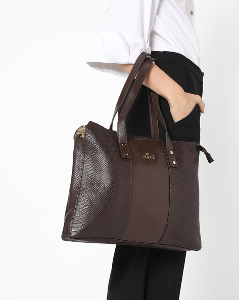 Textured Handbag With Detachable Sling Strap By Lavie ( Brown )