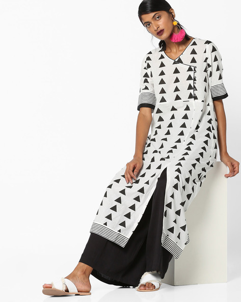 Printed Kurta With Front-Slit Hem By ARSHI ( Offwhite )