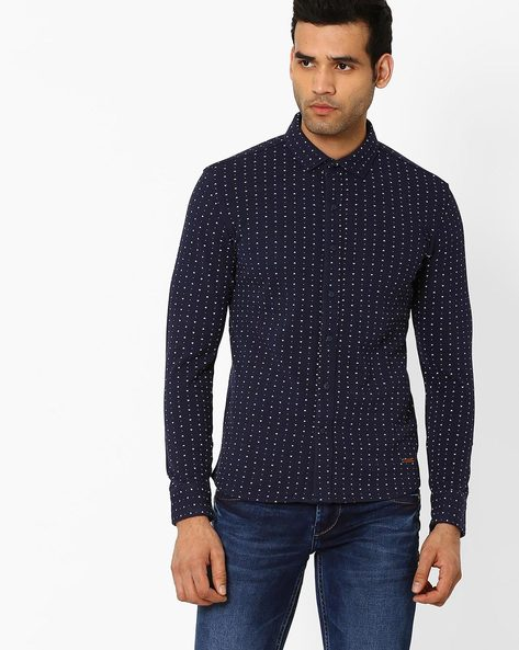 Printed Slim Fit Shirt By SPYKAR ( Navy )