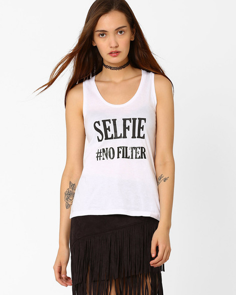 Graphic Print Tank Top By Chemistee ( White ) - 460023032002