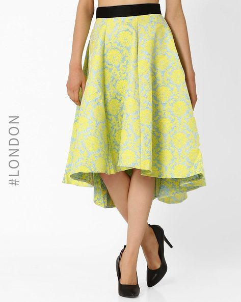 Jacquard High-Low Midi Skirt By Closet London ( Yellow )