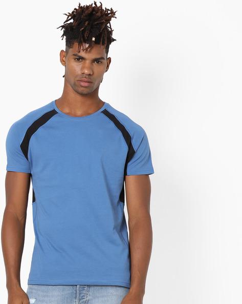 Crew-Neck T-shirt With Raglan Sleeves By AJIO ( Blue )