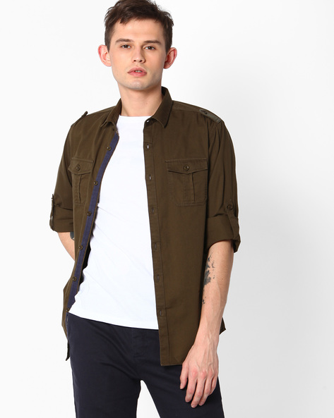 Slim Fit Shirt With Shoulder Tabs By The Indian Garage Co ( Olive )