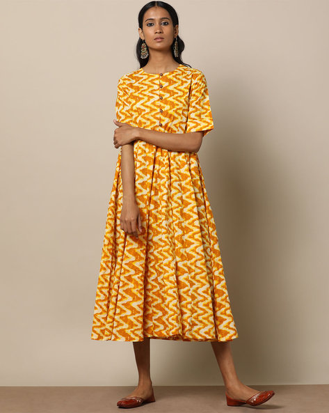 Printed Cotton 16-Panel Midi Dress By Seasons ( Yellow )
