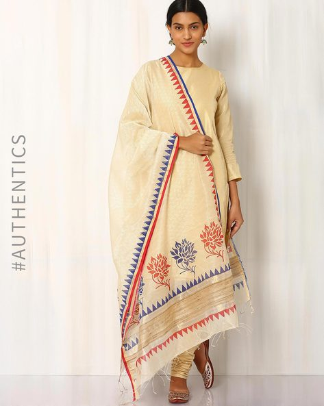 Hand Block Printed Maheshwari Dupatta By Indie Picks ( Beige )