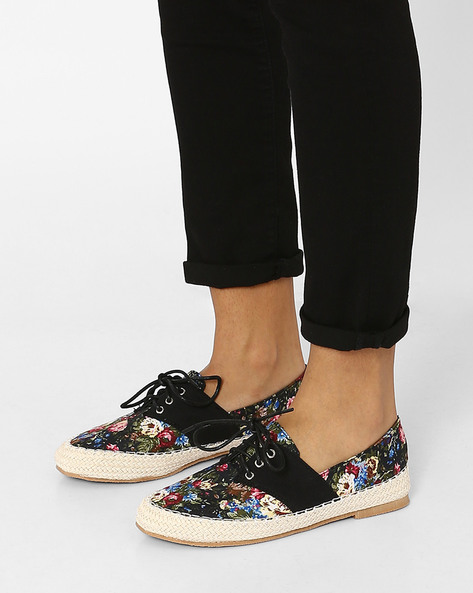 Printed Lace-Up Casual Shoes By MFT Couture ( Black )
