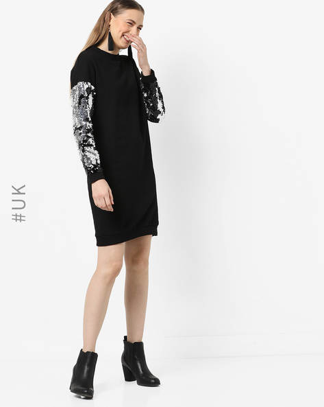 Shift Dress With Sequinned Sleeves By INFLUENCE ( Black )