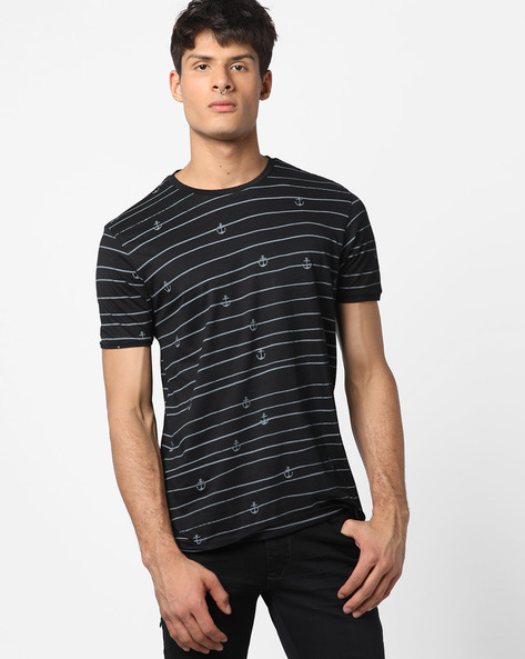 Striped T-shirt With Anchor Print By AJIO ( Black )