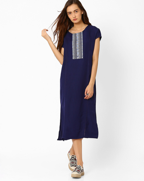 Shift Dress With Side Slits By AJIO ( Navyblue )
