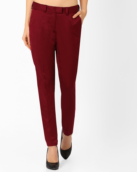 Ankle-Length Trousers By AJIO ( Maroon )