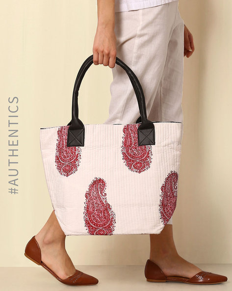 Sanganeri Handblock Print Cotton Quilted Tote Bag By Awdhesh Kumar ( White )
