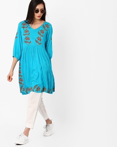 Floral Print Tunic With Gathers By Shakumbhari ( Blue )