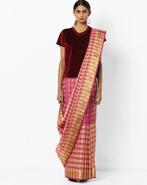Checked Saree With Contrast Border By Florence ( Pink )