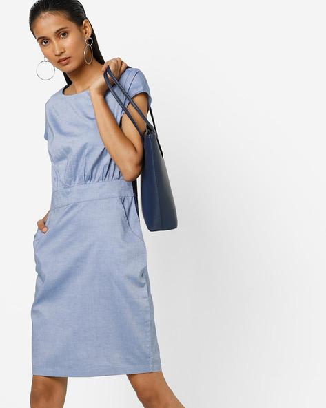 Sheath Dress With Insert Pockets By AJIO ( Blue )