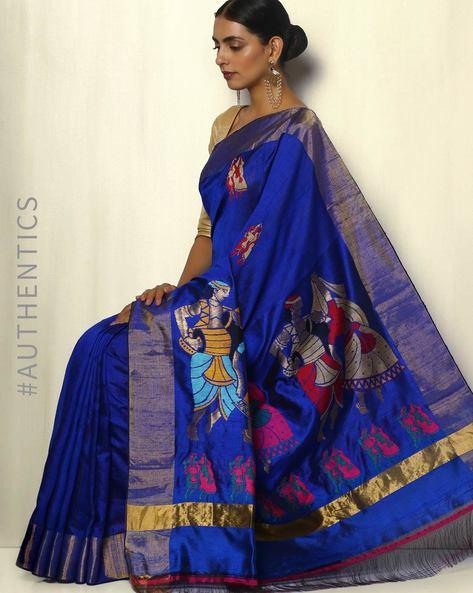 Handloom Designer Pure Silk Dupion Saree By Pretty Woman ( Blue ) - 460092138001