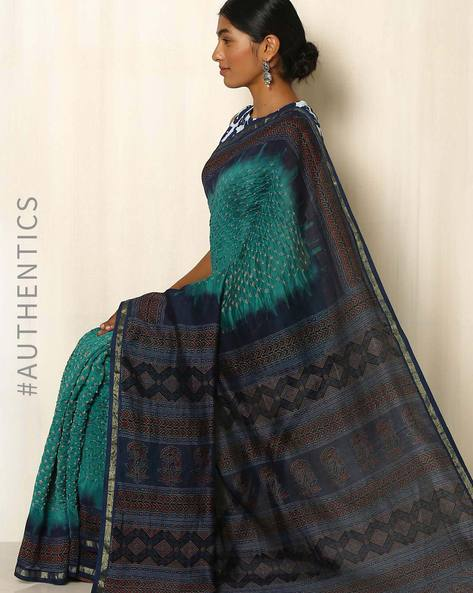 Kutch Bandhani Ajrak Silk Cotton Chanderi Saree By Indie Picks ( Teal )