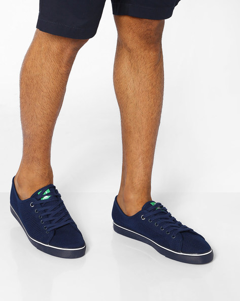 Knitted Sneakers With Self-Knot Branding By UNITED COLORS OF BENETTON ( Navyblue )