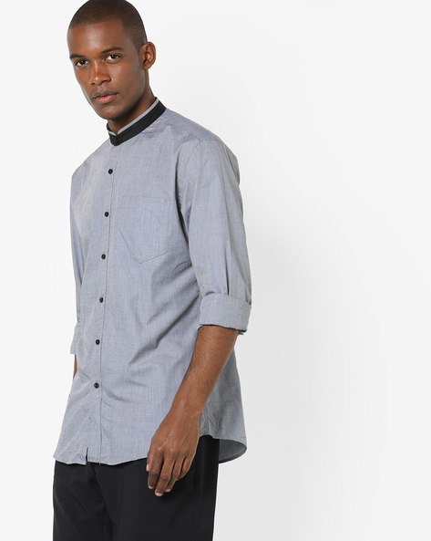 Slim Fit Cotton Shirt By Black Coffee ( Grey )