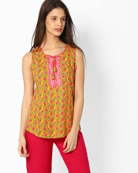 Printed Top With Tie-Up Detail By Rangriti ( Yellow )