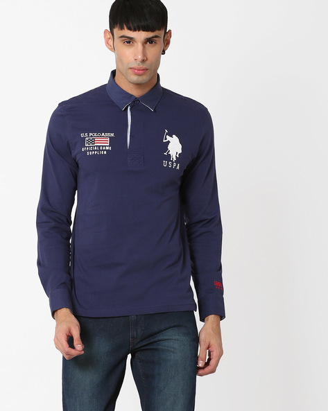 Full Sleeves Slim Polo T-shirt By US POLO ( Blue )